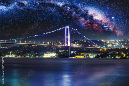 Poster, Tablou Bosphorus Bridge at night, Istanbul