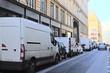 Paris, France, February 10, 2016: trucks on a Paris street, France