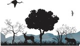 Jungle animals silhouettes vector illustration. Tiger, deer, trees, black silhouettes