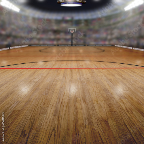 Basketball Arena With Copy Space Background. Rendered in Photoshop.
