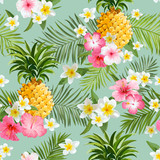 Tropical Flowers and Pineapples Background - Vintage Seamless Pattern - 104528037