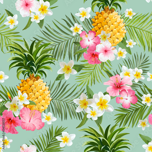 Obraz na Szkle Tropical Flowers and Pineapples Background - Vintage Seamless Pattern