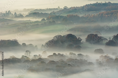 Lingering Autumn morning fog in Lake District countryside. - 104533476
