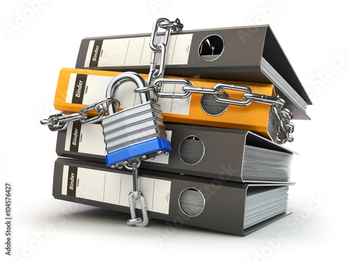 Data and privacy security. Information protection. File folder a