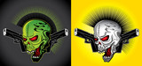 punk horror skull with guns illustration