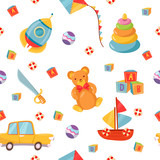 Seamless Pattern with Children Toys