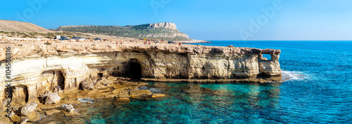 Fotobehang Cyprus Sea caves panorama