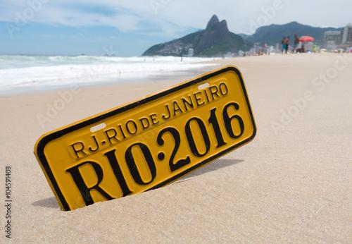 Poster Rio de Janeiro 2016 Schil am Strand Ipanema