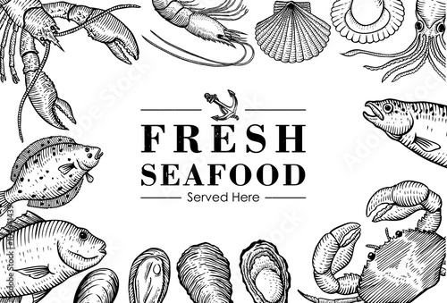 Hand drawn seafood menu Poster
