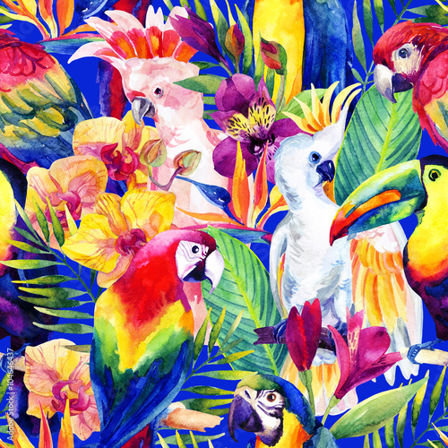 Poster watercolor parrots with tropical flowers seamless pattern