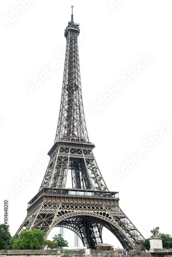 Poster Eiffel Tower over white background. Paris, France