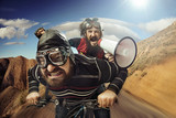 Funny portrait of a tandem of cyclists