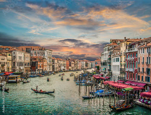 Zdjęcia na płótnie, fototapety na wymiar, obrazy na ścianę : Canal Grande at sunset with vintage effect, Venice, Italy