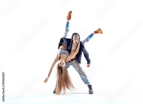 Strong hip-hop guy carrying his dance partner Plakát