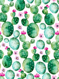 Fototapety Seamless pattern with high quality hand painted watercolor cactus plants and purple flowers.Pastel colors,Perfect for your project,wedding,greeting card,photos,blogs,wallpaper,pattern,texture and more