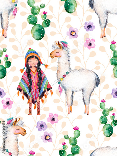 Seamless texture with high quality hand painted watercolor elements for your design with cactus plants,flowers,cute American Indian girl in traditional poncho and lama.For your unique creation. - 104666474