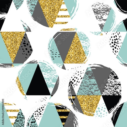 Fototapeta Abstract hand drawn seamless repeat pattern.