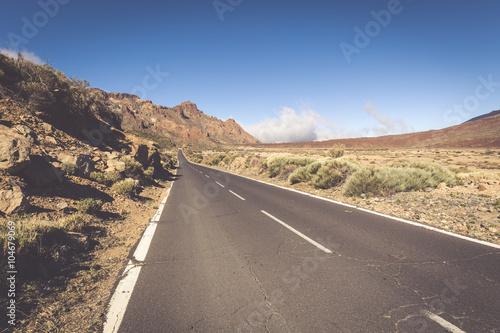 Deurstickers Canarische Eilanden Desert Lonely Road Landscape in Volcan Teide National Park, Tene