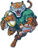 Tiger Rugby Mascot Vector Illustration