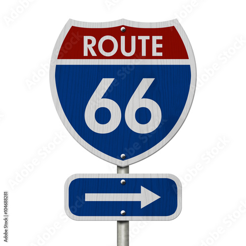 Poster American Route 66 Highway Road Sign