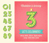 Birthday card invitation design with set of lighted retro numbers. easy to edit.