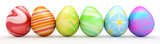 Fototapety Line of colorful Easter eggs isolated on white