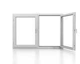 White plastic double door window isolated on white background - 104707641