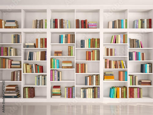 Plagát 3d illustration of White bookshelves with various colorful books