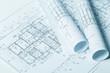 Architectural blueprints close up