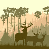 Square illustration of wild elk on edge of forest.