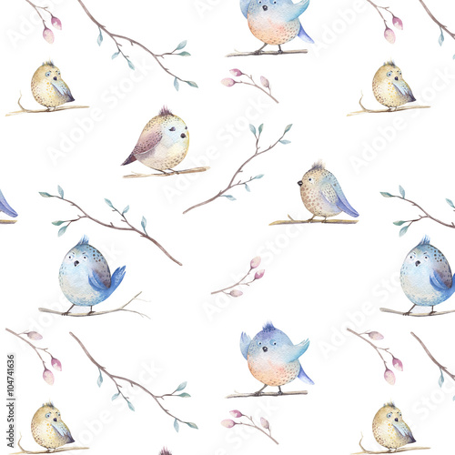 Watercolor  spring  rustic pattern with nest, birds, branch,tree - 104741636