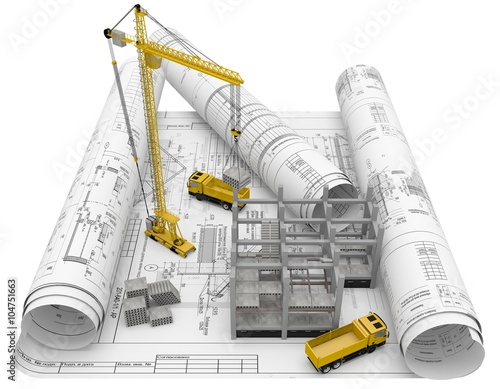 Rolls architectural drawings with construction equipment for Dessin batiment 3d