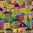 Seamless square pattern with houses and trees Cartoon