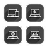 Notebook laptop pc icons. Repair fix service.