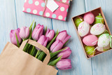 Fototapety Colorful easter eggs and tulips