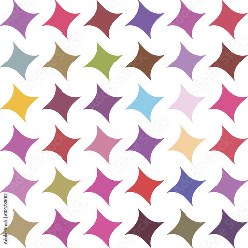Multicolor abstract seamless pattern with stars on white background - 104789012