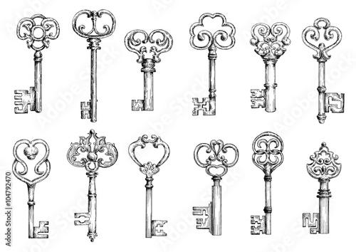 Archiwalne klucze szkice w stylu grawerowania