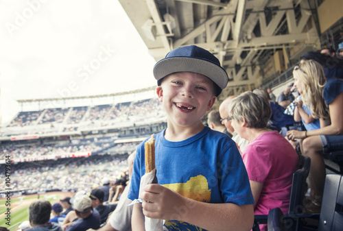 Poster Young boy enjoying a day watching a professional baseball game