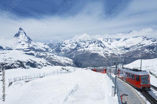 Poster Mountain Matterhorn and train in Gornergrat, Zermatt, Switzerland