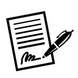 Paper Contract Pen Signature Vector Icon