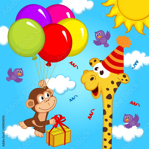 Fototapeta giraffe celebrating birthday - vector illustration, eps