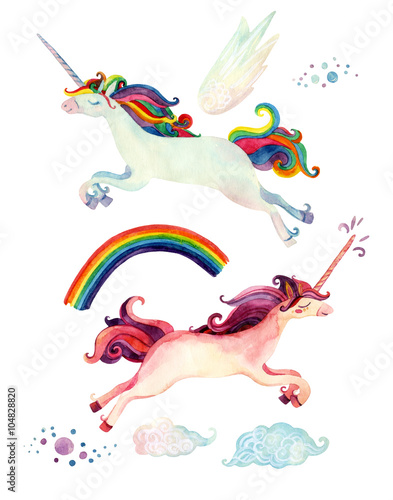 Watercolor fairy tale collection with flying unicorn, rainbow, magic clouds and fairy wings