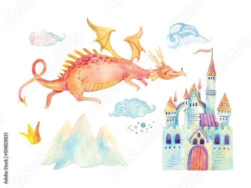 Akwarela baśń kolekcja z ładny smok, magiczny zamek, góry i chmury bajki