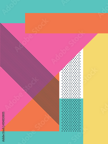Abstract retro 80s background with geometric shapes and pattern. Material design wallpaper. - 104830805
