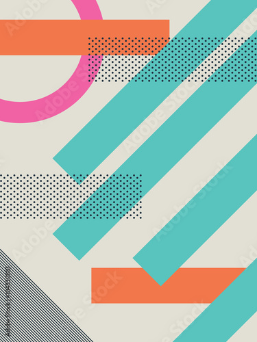 Abstract retro 80s background with geometric shapes and pattern. Material design wallpaper. - 104830810