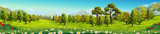 Fototapety Meadow and forest, nature landscape, vector background