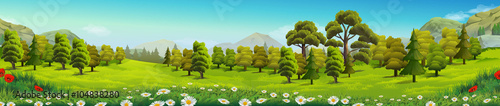 Meadow and forest, nature landscape, vector background - 104838280