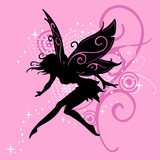girl fairy silhouette vector in pink design