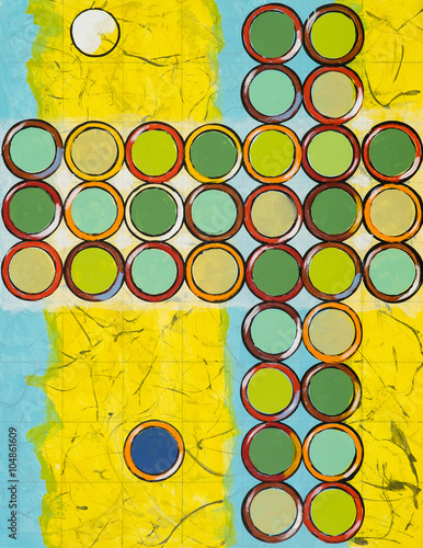 A cruciform grid painting with blue and yellow background - 104861609