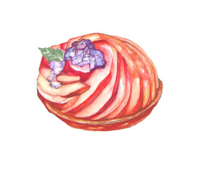 Watercolor of pear tart on white background. Cake illustration.